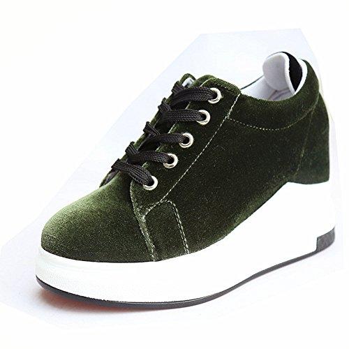 Damen Plateau Rundzehen Halbschuhe Schnürschuhe Dicke Sohle Samt Bequeme Schuhe Grün