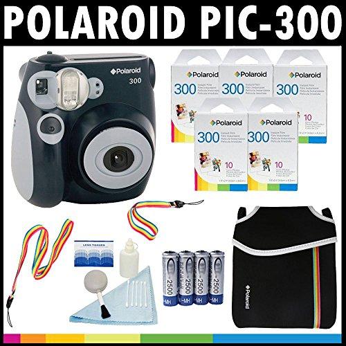 Galleria fotografica Polaroid Fotocamera analogica con pellicola istantanea PIC-300 (Nera) con (5) confezioni di pellicola istantanea Polaroid 300 da 10 pellicole ciascuna + Custodia Polaroid in Neoprene + Kit pulizia Polaroid + Tracolla e cinghia da polso + (4) batterie AA