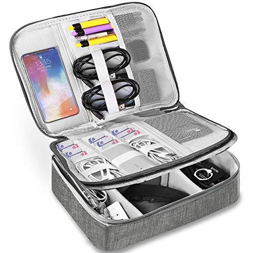 HCFGS Elektronische Tasche - Doppelte Schichte Elektronik zubehör organisator - universal travel Kabel Organizer Tasche (grau) (Elektronische Tasche)