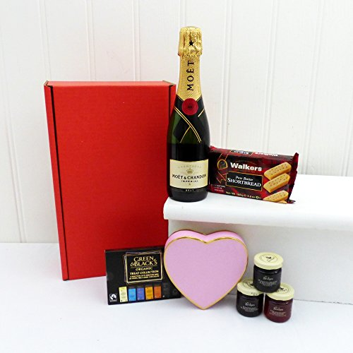 Mini Moet Champagne, Heart Chocolates and Nibbles Hamper Presented in a Red Gift Box - Gift Ideas for Birthday, Anniversary, Wedding and Corporate
