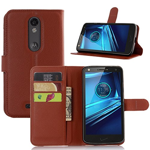 Tasche für Motorola MOTO Droid Turbo 2 Hülle, Ycloud PU Ledertasche Flip Cover Wallet Case Handyhülle mit Stand Function Credit Card Slots Bookstyle Purse Design braun