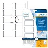 Herma 4410 Namensetiketten ablösbar (80 x 50 mm) weiß blau, 200 Namensaufkleber, 20 Blatt DIN A4, selbstklebende Textil-Namensschilder bedruckbar