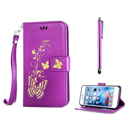 KSHOP für HTC Desire 820 Case Cover Bookstyle Tasche Flip Case Brieftasche Handyhülle PU Ledertasche lila mit Bronzing Drucken Schmetterling Ultra Slim Smart Ledertasche Flip Etui mit Standfunktion + Bleistift Touch lila