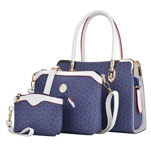 Womens 3 Stück Gepäck Set Leder Handtaschen Crossbody Taschen Geldbeutel, Blau, S (Leder Vintage-gepäck-set)