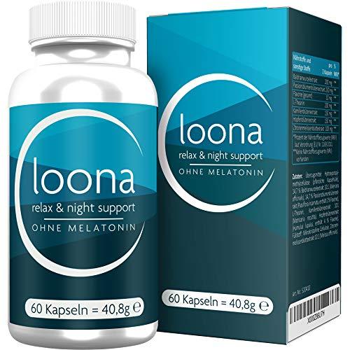 LOONA Night Choice ohne Melatonin, mit Baldrian + Passionsblume + L-Theanin + Kamille + Hopfenblüte, 60 Kapseln -
