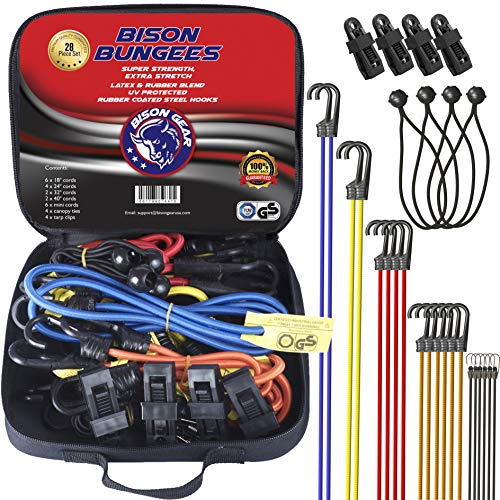 Premium Quality Bungee Cords With Hooks - 28 Piece Set - Heavy Duty UV  resistant Straps and Non-Scratch hooks