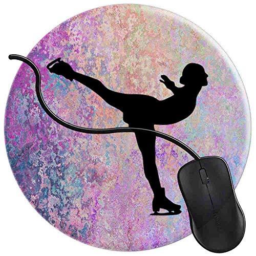 Gaming Mauspad Runde Eiskunstläufer Schwarz Silhouette Auf Blau Lila Rosa Gemarmort Oberfläche verbessert Geschwindigkeit und Präzision rutschfest Mouse Pad 2T2193