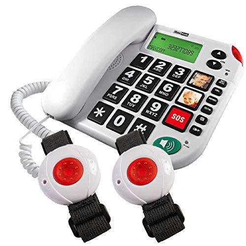 Maxcom KXTSOS: Seniorentelefon mit Funk-Notruf-Sender, schnurgebundenes Festnetztelefon mit Zwei Armbandsendern, großen Tasten, Adapterstecker, hörgerätekompatbel