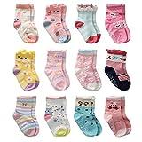 12 Paar Kleinkind Mädchen Rutschfeste Socken Nette Baumwolle mit Griffen, Baby Mädchen Anti-Rutsch-Socken (12 Paar, 1-3 Jahre)