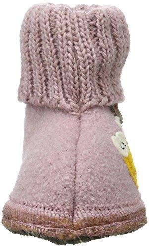 Haflinger Unisex-Kinder Hüttenschuh Biene Hohe Hausschuhe Pink (Rosenholz)