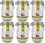 bioKontor // BIO Kokosöl nativ, kaltgepresst, 100% rein - 6x1000 ml im Bügelglas - 6er Set - ings. 6000 ml/ 6 Liter
