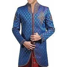 inmonarch Herren Royal Look Indo Western Royal Blau Sherwani mit Dhoti sh274