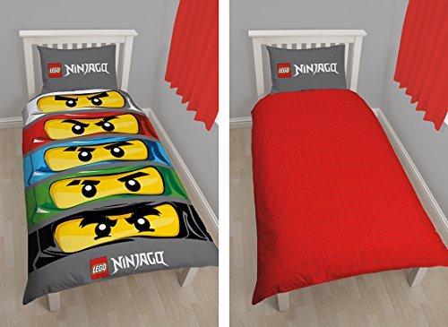 Bettwäsche für Einzelbett, Neueste Charaktere world Lego Ninjago Augen, Set für Jungen und Mädchen