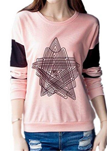 AILIENT Maglietta Donne Magliette T Shirt Manica Lunga Rotondo Collo Stampa Maglietta Casual Camicie Cime Tops Elegante Slim Pink