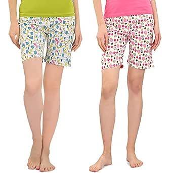 Zebu Women's Printed Shorts (Pack of 2 Shorts)