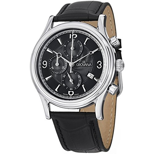 GROVANA Homme 41MM CHRONOGRAPHE Noir Cuir Bracelet Date Montre 1728.9537