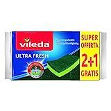Vileda Ultrafresh 2+1 Spugna Abrasiva, Assorbente, Antigraffio, con Parte Fibrosa, Trattamento Antibatterico, Verde