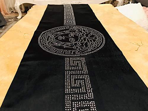 Deko-König Medusa Samt Tischdecke Tischläufer Tischdecke Schwarz mit Silberne Strass Steine (170x33cm