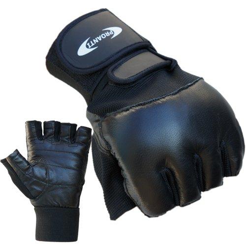Trainingshandschuhe mit Bandage PROANTI® Boxhandschuhe Fitness Handschuhe (schwarz, XXL)