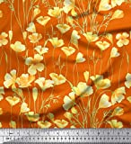 Soimoi Orange Viskose Chiffon Stoff Butterblume Blumen-