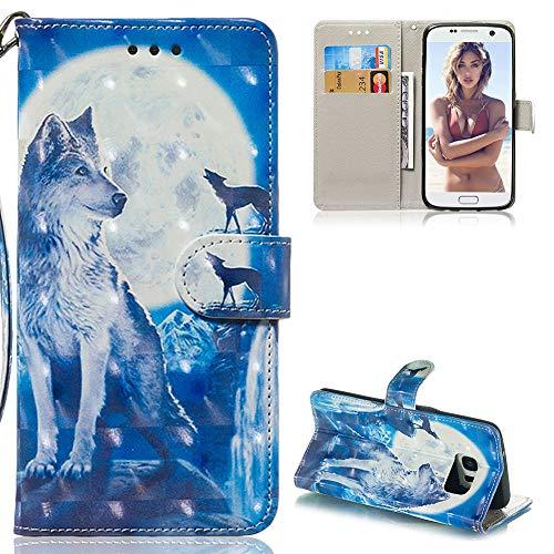 ZCXG Kompatibel mit Hülle Samsung Galaxy S7 Edge Handyhülle Magnet Hülle Leder Tier 3D Bunt Motiv Schwarz Silikon Innere Schutzhülle mit Kartenfächer Dünn Tasche Geldbörse Stand Flip Cover Bumper Case