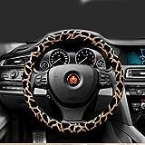 """ewinever(TM) 1 Pu leopardo manera de las PC de coches de cuero Volantes cubierta antideslizante 38 cm (15 """"+ Oro Negro)"""