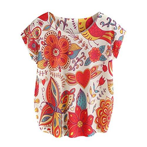 CYBERRY.M T-shirt Été Casual Femme Manches Longues Fleur Imprimé Tee Chemise Tops Multicolore