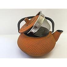 Tetera de hierro colado con filtro - capacidad 0.3 litros y color naranja - teteras para