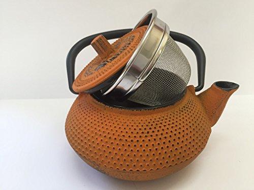 Tetera de hierro colado con filtro - capacidad 0.3 litros y color naranja - teteras para vitroceramica...