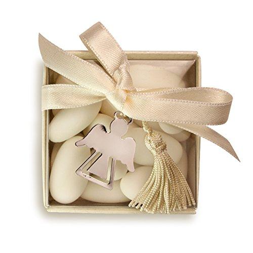 Bomboniera Store - Bomboniera Segnalibro Angelo con Packaging e con Nappina Panna per Nascita & Battesimo, Comunione, Cresima
