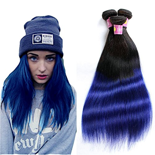 Drasawee 1 Tissage Brésilien Cheveux Silk Straight Extensions Cheveux Noir Naturel à Bleu 100g/tissage 10 Pouces