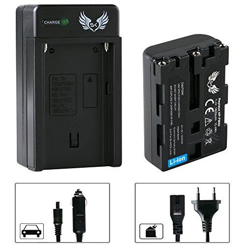 SK Akku Sony NP-FM50 + Ladegerät Charger für Sony NP-FM30 FM70 FM90 QM51D / für Sony Cyber-Shot DSC F707 S30 S50 S70 S75 S85 und Weitere Np-fm50-lithium-batterie