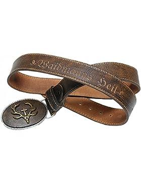 Trachtengürtel Hirsch echt vergoldet Herren Trachten-Gürtel für Lederhose Ledergürtel echt Leder braun mit Patina...