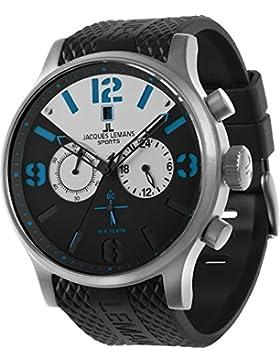 Jacques Lemans Herren-Armbanduhr XL Porto Analog Quarz Kautschuk 1-1668A
