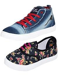 Earton Women Combo Pack of 2 Casual Sneakers Shoes