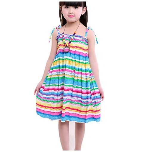 ESHOO-Kids-Girls-Summer-Vacation-Beach-Printing-Dress-with-Necklace