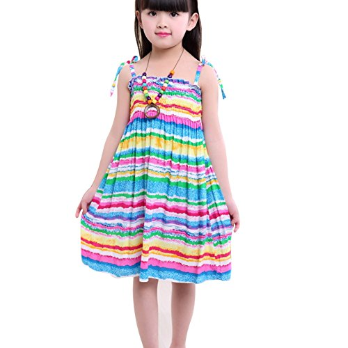 ESHOO Kids Girls Summer Vacation Beach Printing Dress with Necklace