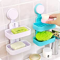 Swarish 1 Double Layer Plastic Suction Soap Dishes Bathroom Wall Holder Toilet Shower Tray Drain Kitchen Tools, Multi Color