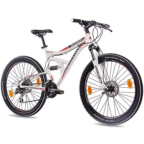 CHRISSON 26 Zoll Mountainbike Fully - Roaner Weiss - Vollfederung Mountain Bike mit 24 Gang Shimano Acera Kettenschaltung - MTB Fahrrad für Herren und Damen mit Suntour Federgabel