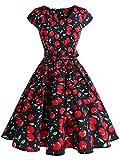 IVNIS RS90013 Damenkleid Floral Blumen Muster mit Taschen Vintage Kleider 50jähriger Rockabilly Cap-Sleeve Cocktail Cherry2 Small
