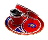 Unique Arts & Interiors Beautiful Velvet Decorated Red-Blue Karwa Chauth Steel Puja Thali Set