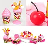 Kids Role Play Toys Kitchen Icecream And Tea Fruit Cutting Set Birthday Cake