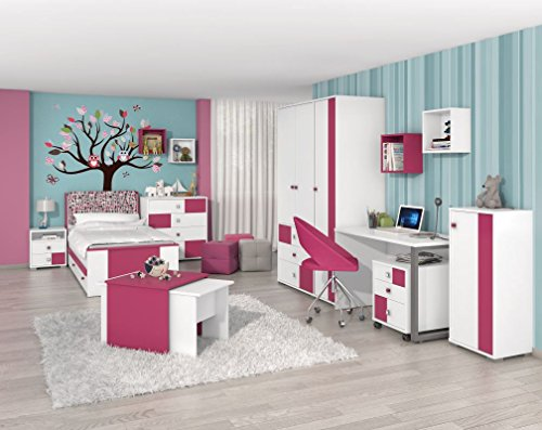 Kinderzimmer Komplett - Set A Lena, 10-teilig - Farbe: Weiß/Pink