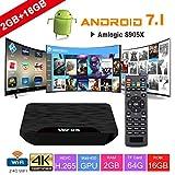 TV Box Android 7.1 - VIDEN W2 Smart TV Box Dernière Amlogic S905X Quad-Core, 2Go RAM & 16Go ROM, 4K UHD H.265, USB, HDMI, WiFi Lecteur Multimédia pour Divertissement à Domicile [Version améliorée]...