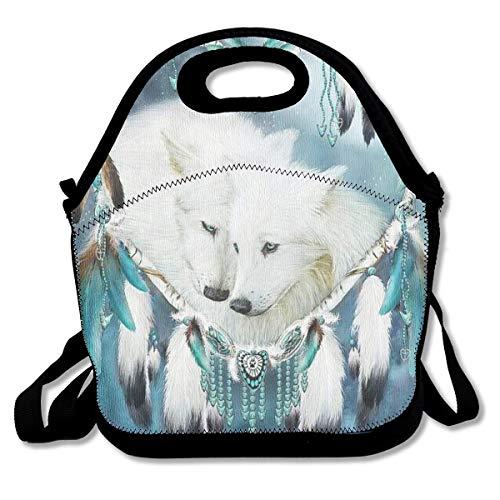 Lobo Atrapasueños Atrapasueños Bolsas de almuerzo Bolsa de picnic de viaje Lonchera aislada con correa para el hombro para mujeres Adolescentes Niñas Adultos