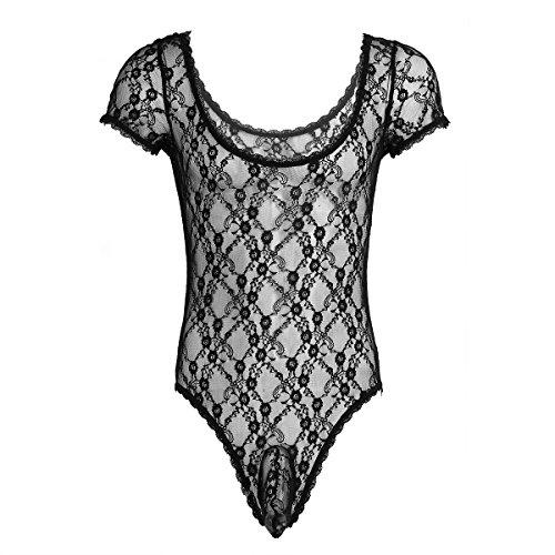 iixpin Männer Body Spitze Rückenfrei Transparent Unterhemd Tank Top Bodysuit Herren Erotik Dessous Reizwäsche Slip Clubwear (Large, Stil C: Schwarz (Rüsche))