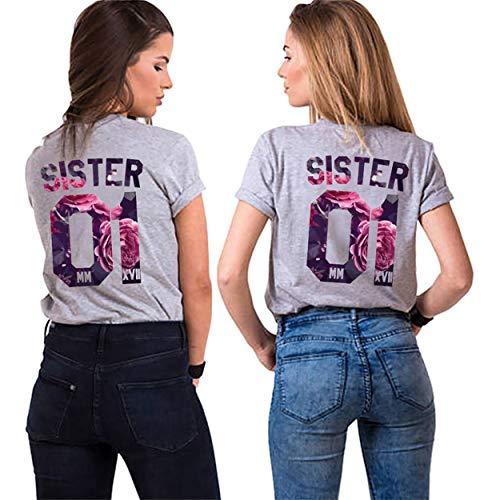 Best Freund Best Friends Sister Shirt mit farbigen Aufdruck für Zwei Shirts mädchen Damen Tops Sommer Oberteil 2 Stücke BFF Geschenke (Grau, Sister-01-S+L) -