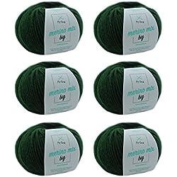 MyOma W0MY-04-A-3245-06 - Ovillo de lana merino (6 ovillos, grosor de aguja de 50 g/75 m, grosor de aguja de 6-7 mm), color verde