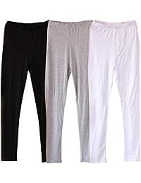 laamei Lot DE 3 Femme Longue Leggings Modal Pantalon Court Leggings Doux  Extensible Grande Taille Couleur 98f91b9dd0a