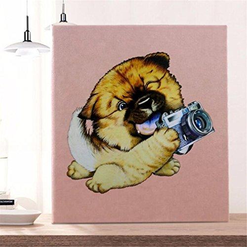(ELEGENCE-Z Fotoalbum Gehobenes Leder 30 Seiten Große Kapazität Hochzeitsreise 4R 4X6 Einfache Einsteckbeutel Vier Gitter Hund Niedlich)